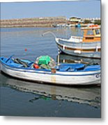Blue Boat In Sozopol Harbour Metal Print