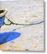 Blue Boat On Mudflat Metal Print