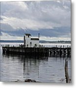 Blue Boat On The Wharf Metal Print