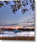 Blue Boat Passing Metal Print