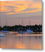 Blue Boats At Sunset Metal Print