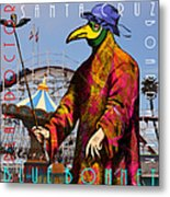 Blue Bonnet Play Doctor Of Santa Cruz Boardwalk 20140309 Square With Text Metal Print by Wingsdomain Art and Photography
