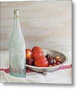 Blue Bottle And Fresh Fruit Metal Print