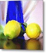Blue Bottle And Lemons Metal Print by Ben and Raisa Gertsberg