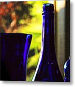 Blue Bottles Metal Print
