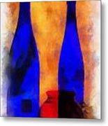 Blue Bottles Photo Art Metal Print