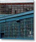 Blue Building Windows Metal Print