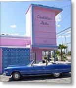 Blue Cadillac At Cadillac Jacks Metal Print
