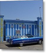 Blue Cadillac At The Nuevo Bar Metal Print
