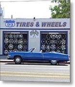 Blue Cadillac At Tires & Wheels Metal Print