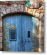 Blue Cafe Doors Metal Print