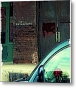 Blue Car On Washington Avenue In Minneapolis Metal Print