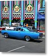 Blue Car With Colorful Background Metal Print