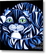 Blue Cat Green Eyes Metal Print