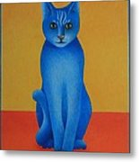 Blue Cat Metal Print