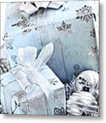 Blue Christmas Gift Boxes Metal Print