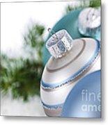 Blue Christmas Ornaments Metal Print