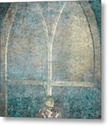 Blue Church Window And Hydrangea Metal Print