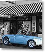 Blue Classic Car In Jamestown Metal Print by RicardMN Photography