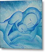 Blue Co Sleeping Metal Print