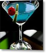 Blue Cocktail With Cherry And Lime Metal Print