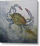 Blue Crab Print Metal Print