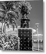 Blue Crown Statue Miami Downtown - Black And White Metal Print by Ian Monk