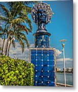 Blue Crown Statue Miami Downtown Metal Print by Ian Monk