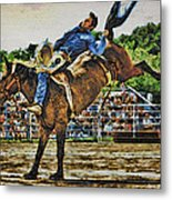 Blue Denim Rider Metal Print