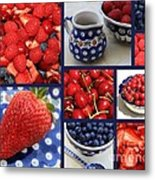 Blue Dishes And Fruit Collage Metal Print