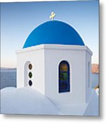 Blue Domed Church In Oia Santorini Greece Metal Print by Matteo Colombo