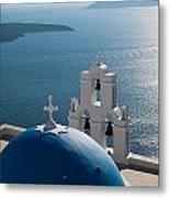 Blue Domed Church In Santorini Greece Metal Print