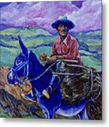 Blue Donkey Metal Print
