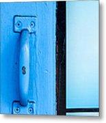 Blue Door Handle Metal Print