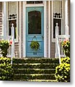 Blue Door  Ivy Stairs Metal Print