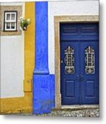 Blue Door Of Medieval Obidos Metal Print by David Letts