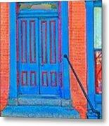 Blue Door On Red Brick Metal Print