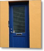 Blue Door Orange Wall Iceland Metal Print