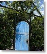 Blue Door To Childrens Garden Huntington Library Metal Print