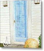 Blue Door With Pumpkin Metal Print