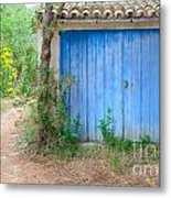 Blue Doors And Yellow Flowers Metal Print