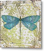 Blue Dragonfly On Vintage Tin Metal Print