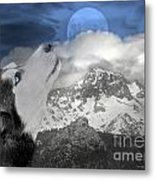 Blue Eyed And Moon Metal Print