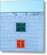 Blue Facade And Colorful Windows Metal Print