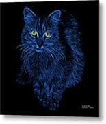 Blue Feral Cat - 9905 F Metal Print