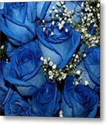 Blue Fire And Ice Roses Metal Print