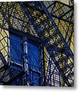 Blue Fire Escape Metal Print