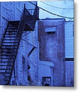 Blue Fire Escape Usa Near Infrared Metal Print