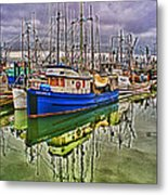 Blue Fishing Boat Hdr Metal Print