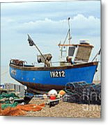 Blue Fishing Boat Metal Print